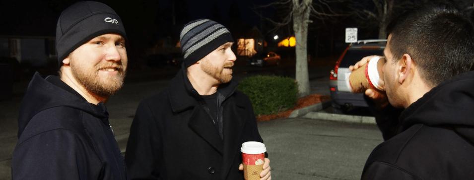 sin three guys cold drinking coffee