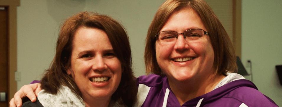 sin two ladies smiling